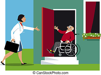 House call - Doctor making a house call to a elderly...