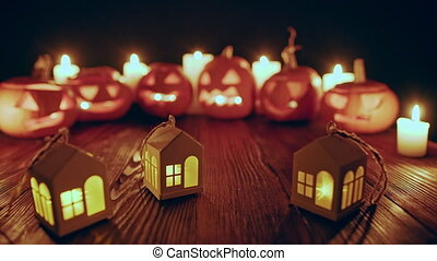 Jack-o-latern Halloween pumpkins with candles - House...