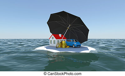 House, car and money covered with an umbrella on a white...