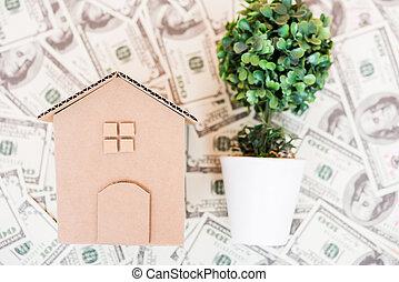 House cardboard model on dollar money