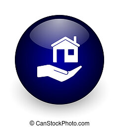 House care blue glossy ball web icon on white background. Round 3d render button.