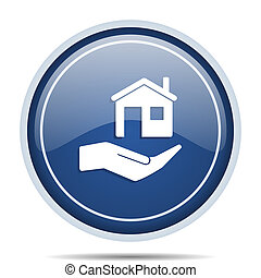 House care blue round web icon. Circle isolated internet button for webdesign and smartphone applications.