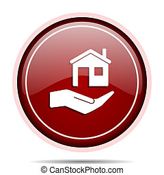House care red glossy round web icon. Circle isolated internet button for webdesign and smartphone applications.