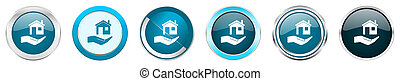 House care silver metallic chrome border icons in 6 options, set of web blue round buttons isolated on white background