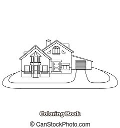 House cartoon coloring book vector illustration