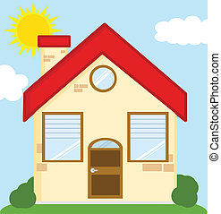 House Cartoon Illustration - House Cartoon Mascot Character...