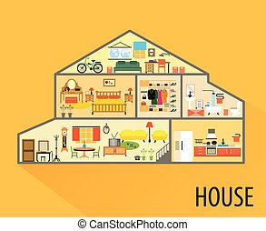 House cartoon interior. Rooms with furniture. - House...