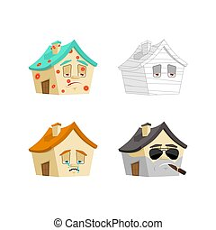 House Cartoon Style set 1. Home Sick and sad. Bandaged and brutal. Building Collection of situations