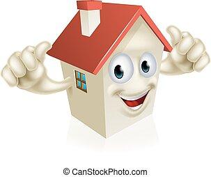 House cartoon thumbs up mascot