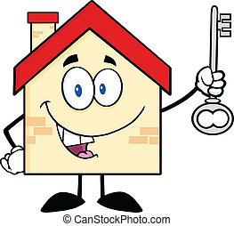 House Character Holding Up A Key - House Cartoon Character...