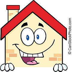 House Character Over Blank Sign
