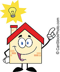 House Character With Good Idea - House Cartoon Character...