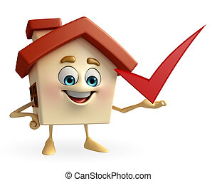 House character with right sign