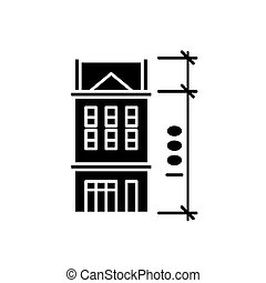 House characteristics black icon, vector sign on isolated background. House characteristics concept symbol, illustration