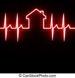 house check up - fine 3d image of cardio house stat with...