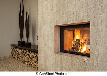 house:, cheminée, travertin