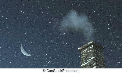 House chimney and Santa at night