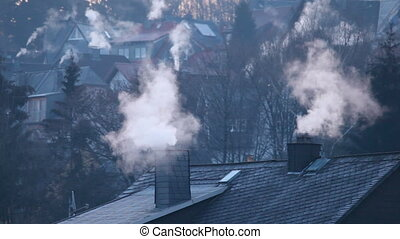 House chimneys in winter time