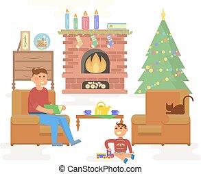 House Christmas room interior