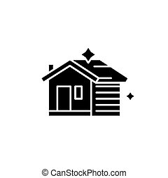 House cleaning black icon, vector sign on isolated background. House cleaning concept symbol, illustration