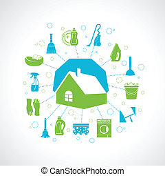 House cleaning concept - Cleaning washing concept with house...