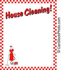 House cleaning frame, border, background or sign clip art.