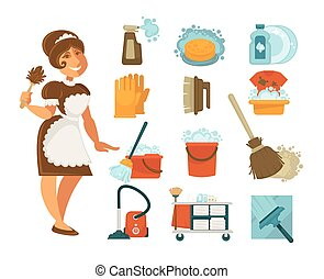 House cleaning, housewife or housemaid and vector home clean tools icons