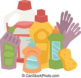 House cleaning hygiene and products flat vector icons set