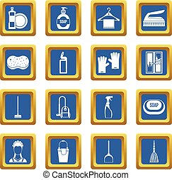 House cleaning icons set blue