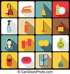 House cleaning icons set, flat style