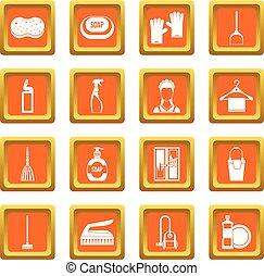 House cleaning icons set orange