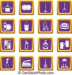 House cleaning icons set purple
