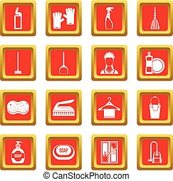 House cleaning icons set red