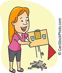 House Cleaning - Illustration of a Girl Doing Some Cleaning