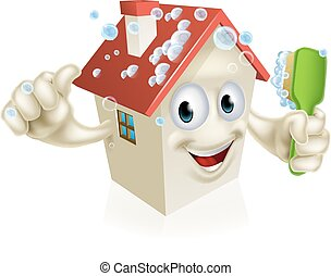 House cleaning mascot - An illustration of a cartoon house...