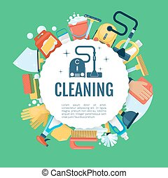House cleaning poster. Vector home services template with household supplies icons
