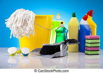 Variety of cleaning products. Cleaning time.
