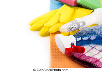 house cleaning products and equipment with copy space