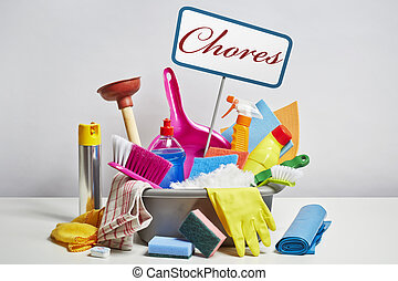 House cleaning products pile on white background