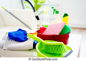 House cleaning products - Set of different products for...