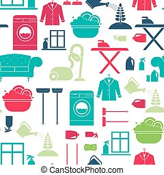 Seamless vector background with house cleaning items - washing mashine, plant care, dry clean, furniture, window cleaning. Housekeeping texture.