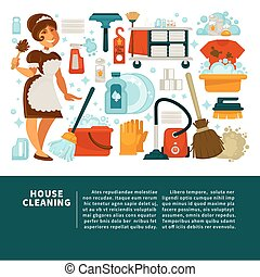 House cleaning service promotional banner with big text