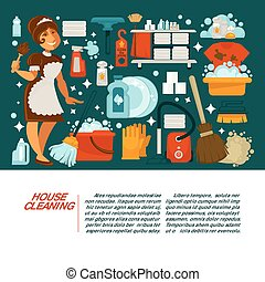 House cleaning service promotional banner with maid in uniform