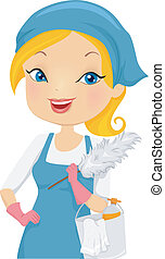 House Cleaning Service - Illustration of a Girl Providing...