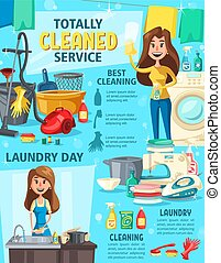 House cleaning service, washing and equipment