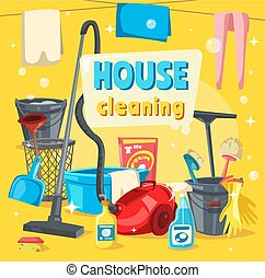 House cleaning tools and supplies