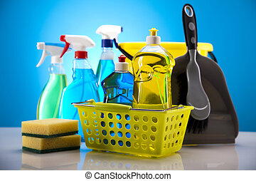 House cleaning - Variety of cleaning products. Cleaning...