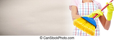 House cleaning with broom