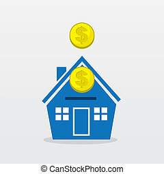 House Coins - Gold coins falling into house
