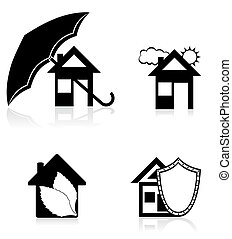 house concept black silhouette illustration - house concept...